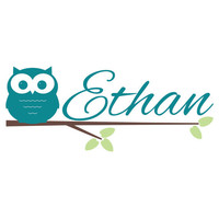 Owl Wall Decal - Personalized Vinyl Owl with Branch and Name Wall Decal for Baby Nursery Boy or Girl Room Wall Art 15H x 36W CN004