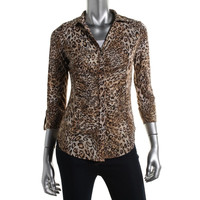 INC Womens Metallic Animal Sleves Button-Down Top