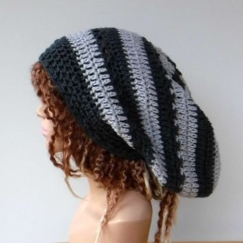 Dark and light grey slouchy large Tam Dreadlock Hippie Beanie Dread Hat handmade crochet unisex