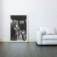 Freddie Mercury,  Queen, Decorative Arts, Prints & Posters, Wall Art Print, Poster 16x23 Inch - Black and White Poster