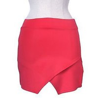 Solid Skinny Unbalanced High Low Sexy Pull On Bandage Bodycon Stretch Mini Skirt