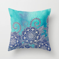 Mermaid's Garden - Navy & Teal Floral on Watercolor Throw Pillow by Micklyn