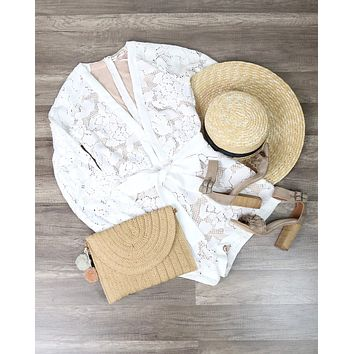 Dark Magnolia Constructed Romper With Nude Lining in White