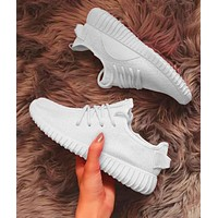 Off White x ADIDAS Yeezy Boost 350 V2 Fashion Casual Breathable Sport Running Sneakers Shoes Full White