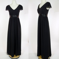 1990s 30s inspired black dress, empire waist long maxi length chiffon flutter sleeve gown, Small