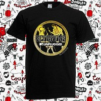 Best New Scorpions In Athens Metal Rock Band Men's Black T Shirt Hot New 2020 Summer Fashion T Shirts|T-Shirts
