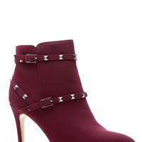 Wine Faux Nubuck Pointed Toe Studded Booties