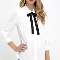 High Society Ivory Long Sleeve Button-Up Top