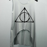 Deathly Hallows Harry Potter Tank Top high waist women  handmade silk screen printing --Choose Color Smoke or Pink