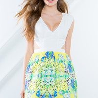 Spring Floral Cut-Out Dress