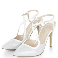 Pale Blue Patent Cross Strap Pointed Heels
