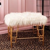 Faux Fur Bench in Gold Bamboo