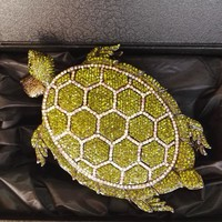 Women Rhinestone Minaudiere Tortoise Box Green Clutch