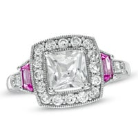 Princess-Cut Lab-Created White and Pink Sapphire Frame Ring in Sterling Silver - Size 7 - View All Rings - Zales