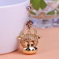 Gold Cow Bull Animal Dangle Body Piercings Summer Sex Jewelry Navel Ring Belly Button Rings Percings Pircing Bijuterias Joias