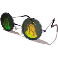 FREE SHIPPING, Round hippie hippy Virgin Mary Mother Mary Madonna hologram holographic 90s grunge sunglasses glasses shades sunnies + choker