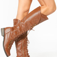Chestnut Faux Leather Lace Up Knee High Boots