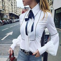 Women Casual Fashion Bow Long Sleeve Cardigan Lapel Shirt Tops
