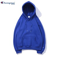 Champion New fashion embroidery logo couple hooded long sleeve sweater top Blue