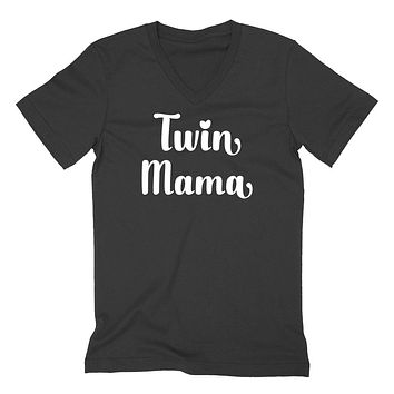 Twin mama V Neck T Shirt