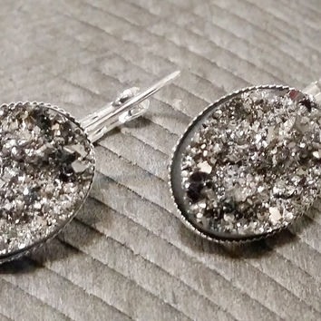 Druzy earrings-  Gunmetal drusy silver tone dangle druzy earrings