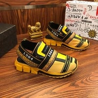 Dolce & Gabbana D&G Sorrento Sneakers In Mixed Materials Yellow - Best Online Sale