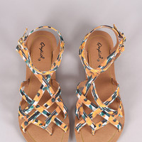 Qupid Strappy Woven Floral Gladiator Thong Flat Sandal
