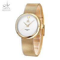 Shengke Women Watches Women Wristwatches Stainless Steel Gold Mesh Strap Women Bracelet Quartz Watch Montre Femme Reloj Mujer SK