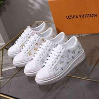 LV Louis Vuitton Woman Genuine Leather Fashion Man Casual Sneakers Shoes Flats