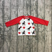new spring Valentine's Day baby boy's Dinosaur red white heart love heart cotton boutique top T-shirt reglans childen clothes