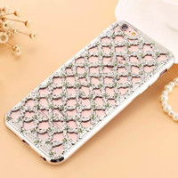 Luxury Hollow Diamond Flower Case For iPhone 5S Case Ultra Thin Plating Lattice Bling TPU Cover For iPhone 7 6 Plus Case Glitter