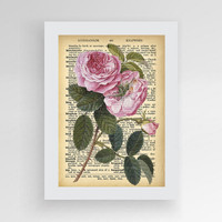 Book print, Rose print, Rose Dictionary Print, Flower print, Illustration print, Dictionary art, Flower gift,Antique Flower Garden Nature