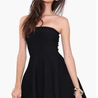 LUCLUC Black Strapless Pleated Short Skater Dress - LUCLUC