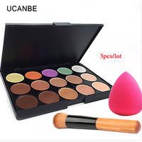 3Pcs/Lot Brand New 15 Colors Concealer Palette Make Up Cream Primer Camouflage Contour Palette Makeup Bronzer With Puff &Brush