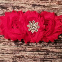 Red Shabby and Rhinestone Snowflake on Red Lace Baby Girl Headband!