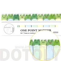Tiny Green Frog Shaped Animal Themed Sticky Post-it Memo Bookmark Tabs | DOTOLY