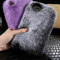 Fur Cases (faux rabbit hair) For iPhone X 8 7 6 6S Plus 5 5S SE / Samsung Galaxy Note 8 5 4 S7 S6 edge
