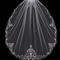 Fingertip Length Wedding Veil with Beaded Silver Embroidery V704SF