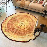 RAIN QUEEN 3D Tree Ring of Tree Trunk Rural Round Rug(3'3x3'3), Natural Feel Carpet Chair Mat for Study, Living Room, Garden, Bedroom, Play Mat, Ideal Gift for Kids Nursery