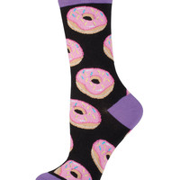 Womens Donut Print Crew Length Socks