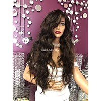 """Brown balayage beach wave Lace front Wig 20""""