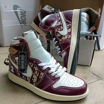 Nike AIR Jordan AJ1 Dior joint men's and women's casual high-top all-match shoes