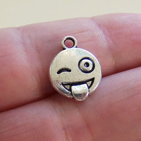 8 Crazy emoji charms, face with stuck out tongue and winking eye, emoji jewelry, emoji charm, smiley, winking face, emojis, emoticon - F389