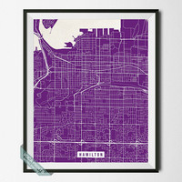 Hamilton Print, Canada Poster, Hamilton Street Map, Canada Map Print, Ontario Print, Wall Decor, Room Decor, Office Decor, Back To School