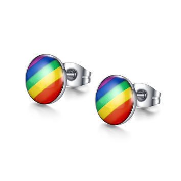 New brand stud earring for rainbow gay pride for men women stainless steel earrings for gay jewelry