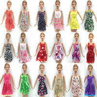 NK Hot Sell One Set=10 Pcs Mix Sorts Newest Beautiful Handmade Party Clothes Fashion Dress For Barbie Doll Best Gift Toys