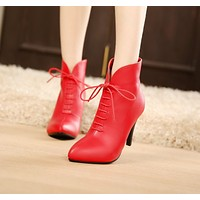 Women Ankle Boots Pointed Toe Lace Up Pu Leather High Heels Shoes Woman 2016 3592