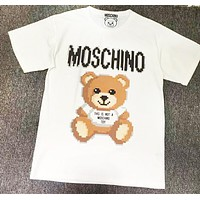 Moshino Summer New Fashion Letter Bear Print Women Men Top T-Shirt White