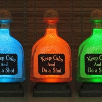 "Patron Tequila 750 ml Bottle ""Keep calm and do a shot"" Remote Controlled 16 Color Changing LED Bottle Lamp  Bar Light Liquor Bottle Lamp"