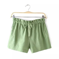 Plain Drawstring-Waist pocket Shorts